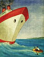Man rowing a small boat away from a giant ship
