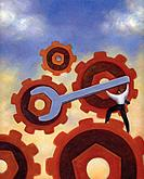 Businessman using a wrench to turn giant gears (thumbnail)
