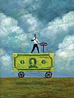 Businessman driving a truck made of banknote (thumbnail)