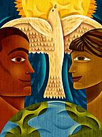 Profiles of a man and woman looking at each other, with a dove and sun between them (thumbnail)