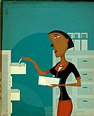 A woman filing documents into a cabinet, side view (thumbnail)