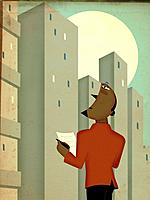 Businessman holding a paper and looking up at high_rise buildings