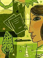 Collage of a woman with documents, a tree, pen, scales, a handshake and the sun