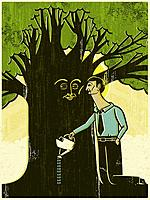 A man watering a tree with a face on the trunk