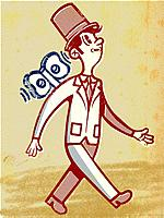 Drawing of a businessman as windup toy