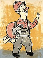 Drawing of a construction man carrying plans