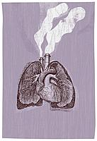Lungs with smoke coming out of them