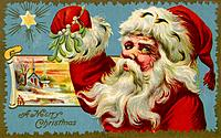Vintage Christmas postcard of Santa Claus holding mistletoe