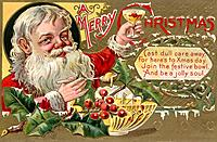 Vintage Christmas postcard of Santa Claus holding a glass of punch