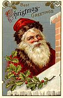 Vintage Christmas postcard of Santa Claus climbing the roof of a house (thumbnail)