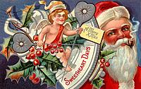 Vintage Christmas postcard of a cherub and Santa Claus in the background (thumbnail)