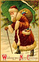 Vintage Christmas postcard of Santa Claus walking in the snow with an umbrella over his head as he carries a sack of gifts