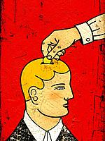 A hand putting a coin into a mans head as though he were a piggy bank