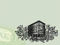Bank building and a US dollar bill on a green background