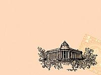 A colonial style bank building with a US dollar bill on pink background