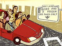 Carpool in the high occupancy vehicle lane