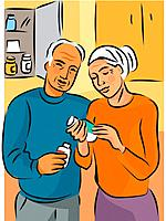 An elderly couple reading the label on a bottle of pills