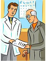 Doctor handing a prescription to an elderly man