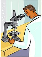 Rear view of a lab technician using a microscope to look at a pill