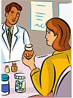 A woman holding a bottle of pills while talking to a pharmacist