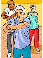 Three elderly men doing stretching exercises
