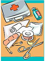 First aid kit and items it contains _ scissors, gauze, bandages, tape, pads, dressing, safety pins