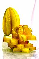 Sliced star fruit, stacked