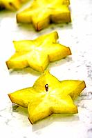 Sliced star fruit