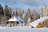 Germany, Black forest, Breitnau, Schwarzwaldhaus, Winter scenery