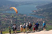 Germany, Bavaria, Tegernsee, hikers at viewpoint
