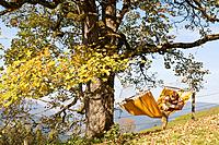 Austria, Salzburger Land, Altenmarkt, Young couple lying in hammock