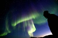 Northern lights or Aurora Borealis. Greenland