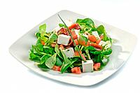 Lamb´s lettuce, tomato, cheese, vinaigrette, and anchovy salad