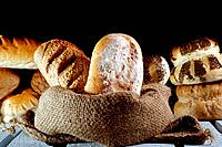 Bread loaves and rolls from a baker