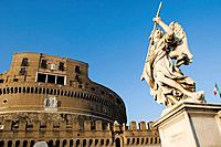 Castel Sant'Angelo and statue on bridge, Rome. Italy