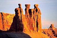 Sunrise light on the Three Gossips Arches National Park, Utah, USA