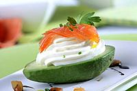 Avocado stuffed with smoked salmon