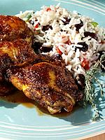 Caribbean jerked chicken rice and peas editorial food