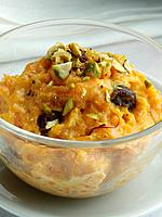 A bowl of kashmiri carrot halva editorial food