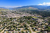 Aerial view looking north over city of Vernon, British Columbia, Canada.