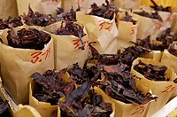 Fresh Dulse sea vegetable at a market stall the City Market building in downtown Saint John, Bay of Fundy, Fundy Coastal Drive, Highway 1, New Brunswi...