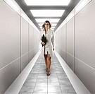 Young confident businesswoman walking along a brightly lit digitally created corridor Leadership Successful career Human resource department Education...