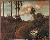 Ü Kunst, Thoma, Hans 2.10.1839 _ 7.11. 1924, Gemälde Der Wanderer um 1891 Sächsische Landesgalerie, Hannover 19. jh, naturalismus, landschaft, mensch ...