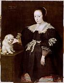 Ü Kunst, Vos, Cornelis de 1584 _ 9.5.1651, Gemälde Bildnis eines Mädchens, oder Elfjähriges Mädchen mit Hund 1633 Niedersächsische Galerie, Hannover c...