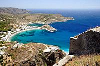 Aerial view of the Kapsali village from the castle, Kythera island, Greece