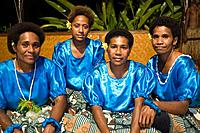 Women dancers from local village performing for guests at Beqa Lagoon Resort, Beqa Island, Fiji