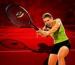 Woman hitting donut with tennis racket Digital Composite