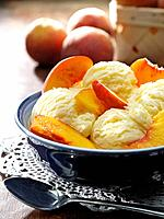 Bowl of ice cream with fruit