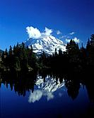 Eunice Lake with Mount Rainier in the background in Mount Rainier National Park.