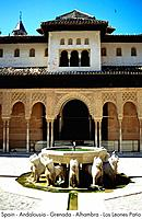Spain _ Andalousia _ Grenada _ Alhambra _ Los Leones Patio Spain